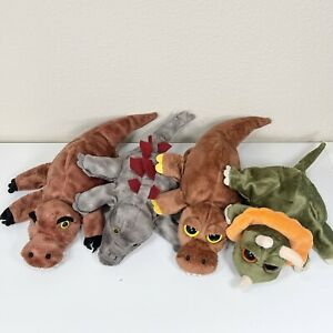 Lot of 4 Caltoy Hand Puppets Plush Green, Brown, Grey,Dinosaurs/ alligator