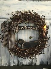 18 Inch Primitive Country Wreath W/Berries, Sign, Crow & Candle