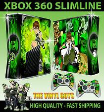 Xbox 360 Slim Aufkleber Ben 10 Tennison Omnitrix Alien Hülle & 2 Controller