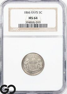 1866 MS64 Shield Nickel, RAYS, NGC Mint State 64 ** Very Nice Better Date!