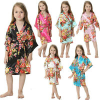 Girls Kid Baby Floral Silk Satin Pajamas Sleepwear Kimono Robes Bathrobe Gown US