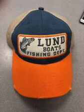 LUND FISHING BOATS DISTRESSED PATCH TRUCKER SNAP BACK HAT