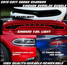2015 - 2018 Dodge Charger Headlight Tail Light Side Marker Smoke Vinyl Overlays