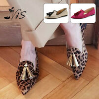 Nis Women Loafer Ballet Flats Pointed Toe Tassel Casual Dress Slip On Boa