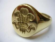 New heavy 9ct Gold PRINCE OF WALES FEATHERS Seal Style Signet Ring.