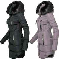 Womens Designer Fur Hooded Long Jacket Fleece Quilted Winter Padded Coat Pockets