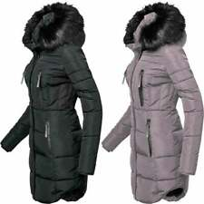 Womens Designer Fur Hooded Long Jacket Fleece Quilted Winter Padded Coat Pockets