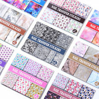 30pcs Colorful Nail Foils Stickers Bright Flower Nail Art Transfer Decals Design