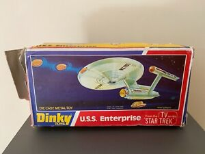 Dinky 358 USS Enterprise in damaged original box with packing