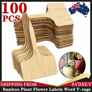 100x Bamboo Plant Flower Labels Word T-tags Garden Home Stake Decor Marker Tool