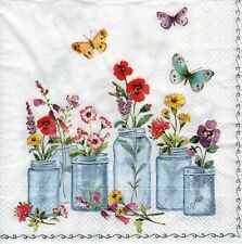 4x Decoupage PAPER NAPKINS SUMMER JARS WHITE FLOWERS FLORAL