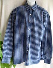 Men's Sz 17 Ralph Lauren Purple Label Italy Long Sleeve Blue Plaid Shirt C5