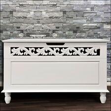 White Storage Bench Wooden Box Bathroom Storage Cabinet Chest Settee Furniture