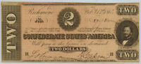 1864 CSA  Confederate States $2 Note T-70 Uncirculated Details