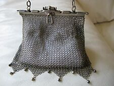 Antique Art Nouveau Deco G Silver Fancy Fob Chain DOUBLE HINGE Frame Mesh Purse