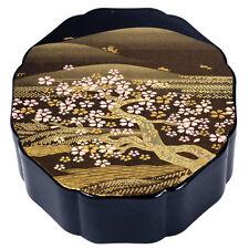"Japanese Box Black Cherry Tree Golden Mountain Design Lacquer Finish OCT 4.5"""