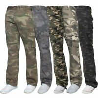 Kruze Mens Cargo Combat Trousers Army Camouflage Camo Military Pants All Waists