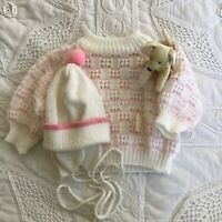 EUC Vtg Doll Baby Knitted Cardigan Jumper Pink White Buttons Newborn 0 6 POM HAT
