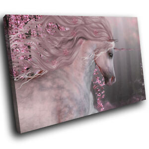 A770 Pink Floral Unicorn Forest Funky Animal Canvas Wall Art Large Picture Print