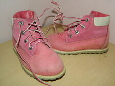 girls Timberland pink leather high top lace up boots uk 8.5 eur 26
