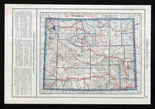 1919 Automobile Road Map Wyoming North & South Dakota Cheyenne Rapid City Casper