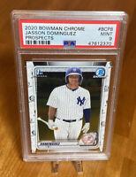 47612370 JASSON DOMINGUEZ 2020 Bowman Chrome Prospects BCP8 RC Rookie PSA 9 MINT