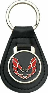 Leather Keychain Ring With Red Wings Up Bird Pontiac Firebird and Trans AM