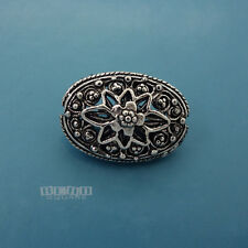 1 PC Large Antiqued Sterling Silver Texture Oval Bead Spacer 13mm x 19mm #33097