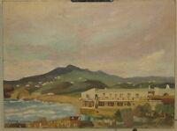 Vintage GLADYS WILKINS MURPHY Beach Club Boathouse OIL Painting - RI/MA Listed