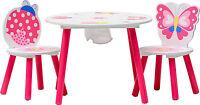 Ensemble table et 2 chaises enfant - PAPILLON - Set meubles enfant en bois rose