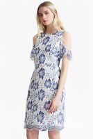 New French Connection Antonia Lace Meru Blue & White Dress Sz UK 8  & 16