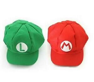 2PCS New Version Super Mario Bros Unisex Hat Cap Mario Luigi Hat Red Green