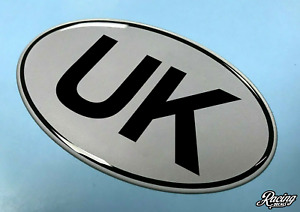 UK Oval 75mm x 43mm Sticker/Decal - Retro - BLACK on SILVER - GLOSS DOMED GEL