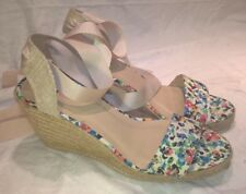 just fab Rhondia Floral wedge platform sandals UK 8 EUR41 ankle tie ribbons