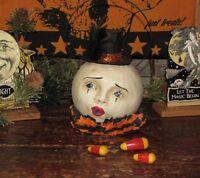 Primitive Antique Vtg Style Halloween Paper Mache Magic Clown Man Moon Bucket