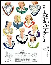 McCall Pattern # 1037 10 Collar Jabot and Cuffs Fabric Sewing Patterns Vintage