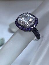 Bella Luce White/ Purple Blk Rhodium 925 Sq Cushion Ring Sz 8 7.54 Ctw