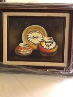 """Vintage Painting Of Southwestern Native American Pottery. Framed In Wood  14""""w X"""