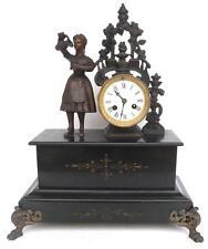 Belle pendule horloge marbre statue femme régule  XIX Napoléon III clock