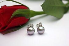 6 mm Grau echt Zucht Süßwasser Perlen Schmuck Ohrringe Ohrstecker 925 Silber