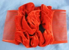 red velvet fabric material double elastic stretch hair comb updo bun maker