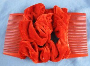 red velvet fabric material double elastic stretch hair comb updo bun maker