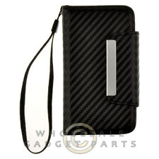 Apple iPhone 4/i4S Wallet Pouch Carbon Fiber Black Cover Shield Shell Case