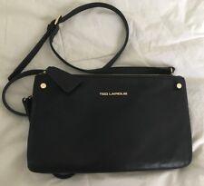 TED LAPIDUS Black Leather Slim Crossbody Purse Bag-VERY NICE