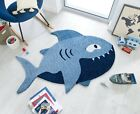 ZEST KIDS SHARK SHAPED CHILDREN KIDDY BLUE SOFT NURSERY RUG 90 X 150 CM (3X5)