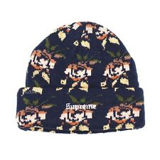 NWT Supreme NY Floral Rose Knit Logo Mens Beanie Hat Navy Blue FW18 DS AUTHENTIC
