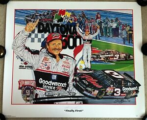 DALE EARNHARDT SR Autographed 27x32 Sam Bass Daytona 500 Lithograph, Poster, JSA