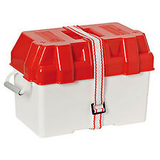 RED & WHITE LEISURE BATTERY BOX For 95-100 Amp With Strap Caravan Boat Etc
