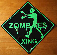 ZOMBIES CROSSING Road Street Sign Zombie Halloween Party Yard Home Decor NEW