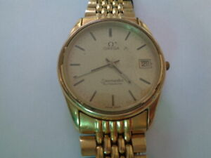 Omega Seamaster Automatic Mens Watch Gold Dial Gold Plated cal 1110 Date Calenda